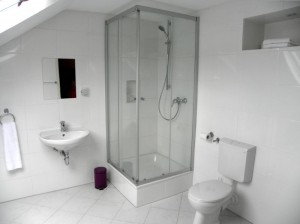 Bright and spacious bathroom with shower and toilet